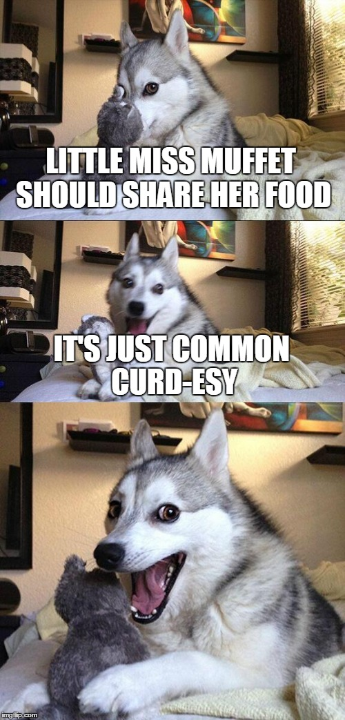 There's a wrong and a right whey to do things. | LITTLE MISS MUFFET SHOULD SHARE HER FOOD IT'S JUST COMMON CURD-ESY | image tagged in memes,bad pun dog,fairy tales,fairy tale week,nursery rhymes,little miss muffet | made w/ Imgflip meme maker