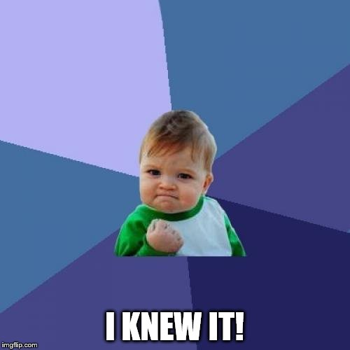 Success Kid Meme | I KNEW IT! | image tagged in memes,success kid | made w/ Imgflip meme maker