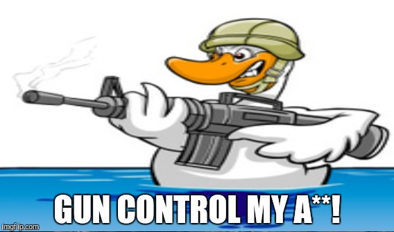 When the DUCK holding the gun | GUN CONTROL MY A**! | image tagged in funny,funny memes,gifs,memes,gun control | made w/ Imgflip meme maker