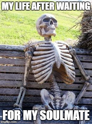Waiting Skeleton Meme | MY LIFE AFTER WAITING FOR MY SOULMATE | image tagged in memes,waiting skeleton | made w/ Imgflip meme maker