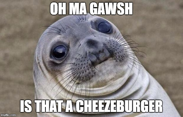 Awkward Moment Sealion Meme | OH MA GAWSH IS THAT A CHEEZEBURGER | image tagged in memes,awkward moment sealion | made w/ Imgflip meme maker