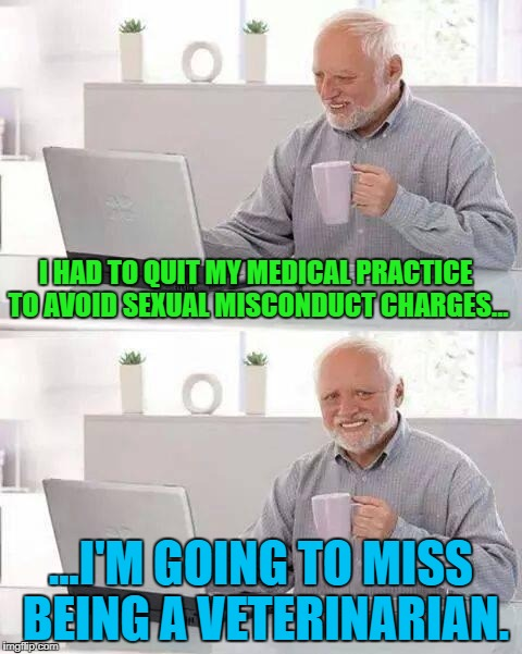 One little mistake can ruin your life. | I HAD TO QUIT MY MEDICAL PRACTICE TO AVOID SEXUAL MISCONDUCT CHARGES... ...I'M GOING TO MISS BEING A VETERINARIAN. | image tagged in memes,hide the pain harold,sexual assault,sexual harassment,funny memes | made w/ Imgflip meme maker