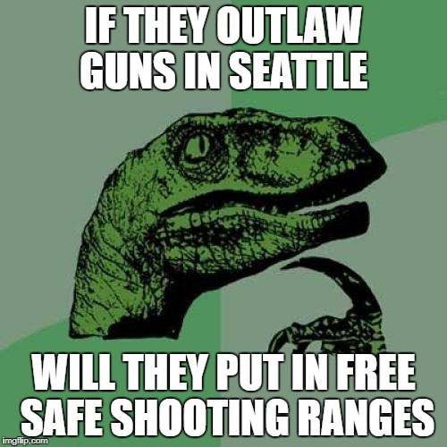Philosoraptor Meme | IF THEY OUTLAW GUNS IN SEATTLE WILL THEY PUT IN FREE SAFE SHOOTING RANGES | image tagged in memes,philosoraptor | made w/ Imgflip meme maker