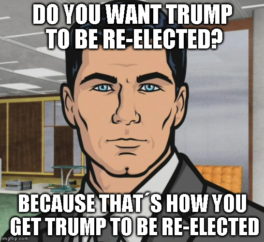 Archer Meme | DO YOU WANT TRUMP TO BE RE-ELECTED? BECAUSE THAT´S HOW YOU GET TRUMP TO BE RE-ELECTED | image tagged in memes,archer | made w/ Imgflip meme maker