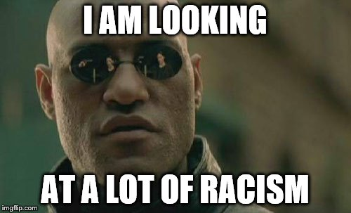 Matrix Morpheus Meme | I AM LOOKING AT A LOT OF RACISM | image tagged in memes,matrix morpheus | made w/ Imgflip meme maker