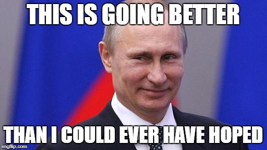 Putin | THIS IS GOING BETTER THAN I COULD EVER HAVE HOPED | image tagged in putin,russia,collusion | made w/ Imgflip meme maker