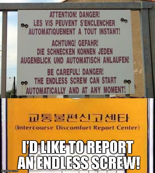 REPORTED!!!! | I'D LIKE TO REPORT AN ENDLESS SCREW! | image tagged in endless screw,nsfw,report center,engrish,discomfort | made w/ Imgflip meme maker