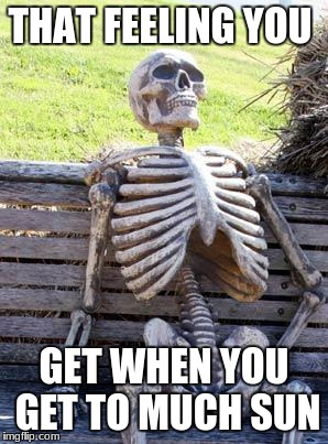Waiting Skeleton Meme | THAT FEELING YOU GET WHEN YOU GET TO MUCH SUN | image tagged in memes,waiting skeleton | made w/ Imgflip meme maker