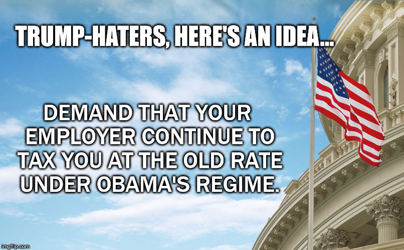 Trump-Haters | TRUMP-HATERS, HERE'S AN IDEA... DEMAND THAT YOUR EMPLOYER CONTINUE TO TAX YOU AT THE OLD RATE UNDER OBAMA'S REGIME. | image tagged in taxes,employer,trump,obama,regime | made w/ Imgflip meme maker