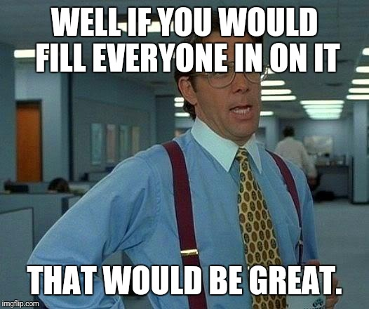 That Would Be Great Meme | WELL IF YOU WOULD FILL EVERYONE IN ON IT THAT WOULD BE GREAT. | image tagged in memes,that would be great | made w/ Imgflip meme maker