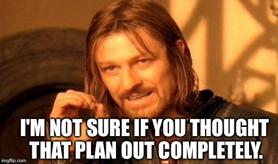 One Does Not Simply Meme | I'M NOT SURE IF YOU THOUGHT THAT PLAN OUT COMPLETELY. | image tagged in memes,one does not simply | made w/ Imgflip meme maker