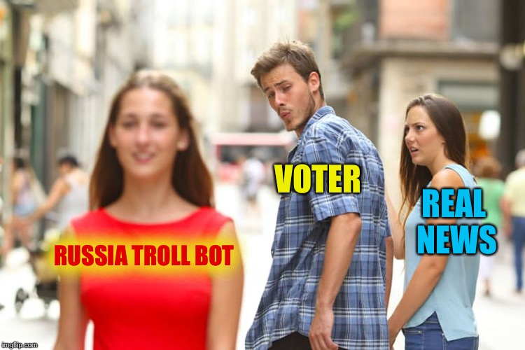 Distracted Boyfriend Meme | RUSSIA TROLL BOT VOTER REAL NEWS | image tagged in memes,distracted boyfriend | made w/ Imgflip meme maker