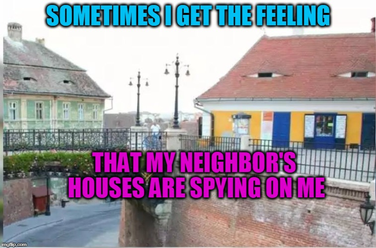 House of Spies | SOMETIMES I GET THE FEELING THAT MY NEIGHBOR'S HOUSES ARE SPYING ON ME | image tagged in spying,house | made w/ Imgflip meme maker