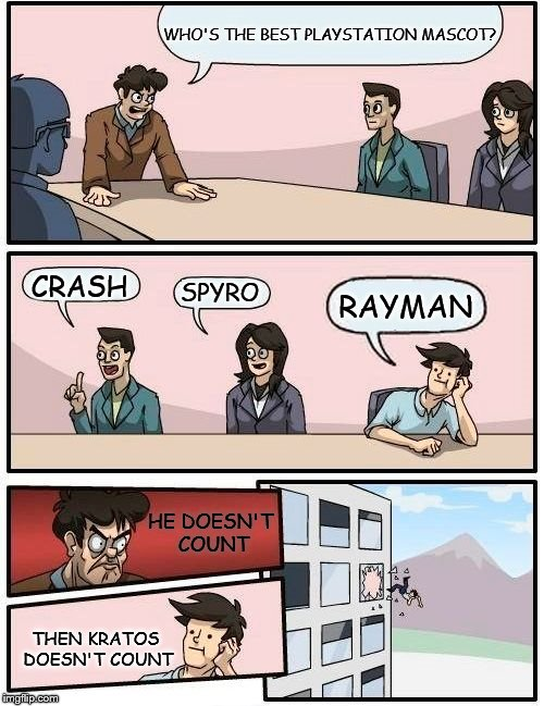 Cloud |  WHO'S THE BEST PLAYSTATION MASCOT? SPYRO; CRASH; RAYMAN; HE DOESN'T COUNT; THEN KRATOS DOESN'T COUNT | image tagged in memes,boardroom meeting suggestion,spyro,crash bandicoot,rayman,sony | made w/ Imgflip meme maker