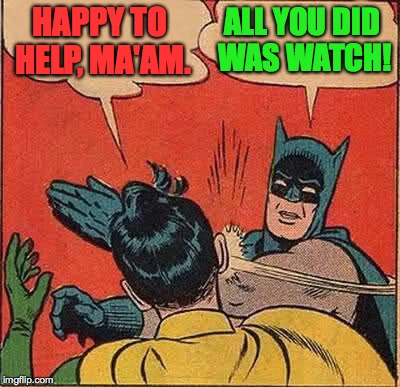 Batman Slapping Robin Meme | HAPPY TO HELP, MA'AM. ALL YOU DID WAS WATCH! | image tagged in memes,batman slapping robin | made w/ Imgflip meme maker