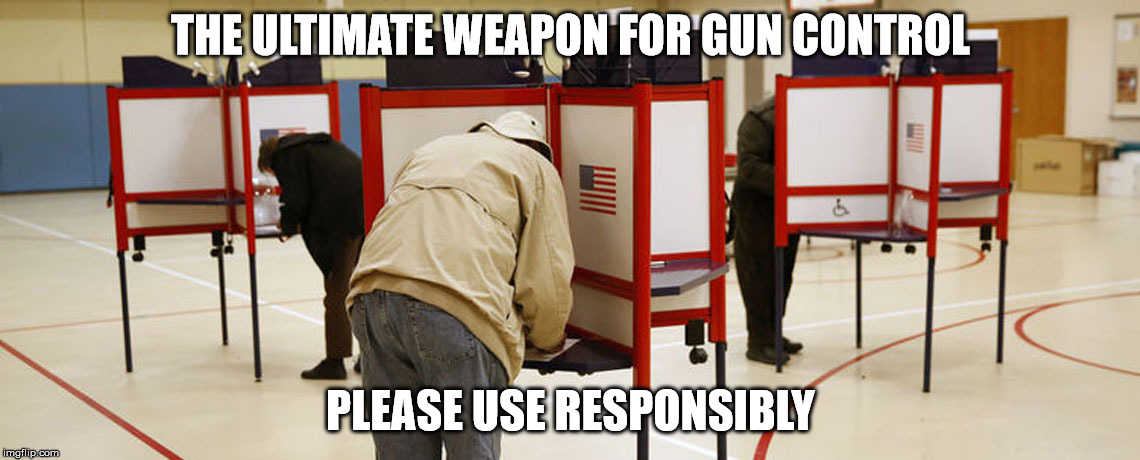 Ultimate weapon | THE ULTIMATE WEAPON FOR GUN CONTROL PLEASE USE RESPONSIBLY | image tagged in gun control,nra,voting booth | made w/ Imgflip meme maker