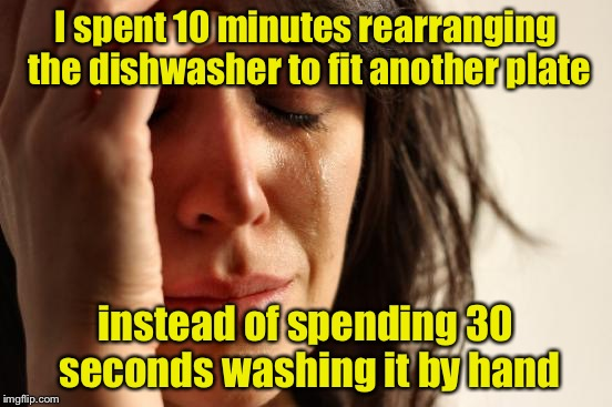 First World Problems Meme | I spent 10 minutes rearranging the dishwasher to fit another plate instead of spending 30 seconds washing it by hand | image tagged in memes,first world problems,dirty dishes,dishwasher | made w/ Imgflip meme maker