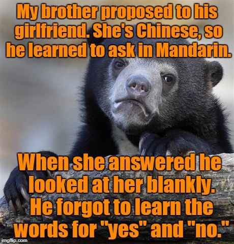 Confession Bear Meme | My brother proposed to his girlfriend. She's Chinese, so he learned to ask in Mandarin. When she answered he looked at her blankly. He forgo | image tagged in memes,confession bear | made w/ Imgflip meme maker
