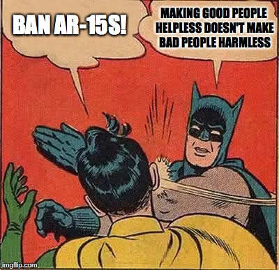 Batman Slapping Robin Meme | MAKING GOOD PEOPLE HELPLESS DOESN'T MAKE BAD PEOPLE HARMLESS BAN AR-15S! | image tagged in memes,batman slapping robin | made w/ Imgflip meme maker