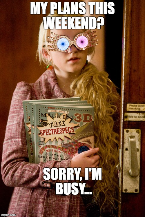 MY PLANS THIS WEEKEND? SORRY, I'M BUSY... | image tagged in luna lovegood | made w/ Imgflip meme maker