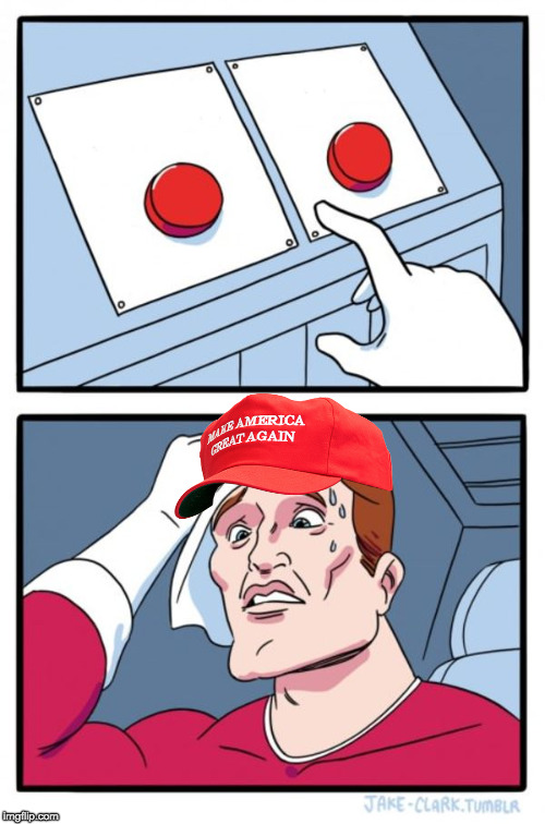 Two Button Maga Hat Meme Template