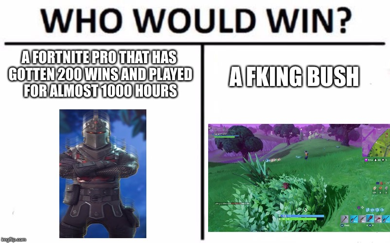 Who Would Win? Meme | A FORTNITE PRO THAT HAS GOTTEN 200 WINS AND PLAYED FOR ALMOST 1000 HOURS A FKING BUSH | image tagged in memes,who would win | made w/ Imgflip meme maker
