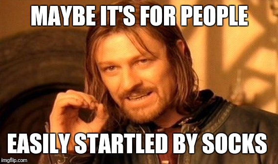 One Does Not Simply Meme | MAYBE IT'S FOR PEOPLE EASILY STARTLED BY SOCKS | image tagged in memes,one does not simply | made w/ Imgflip meme maker