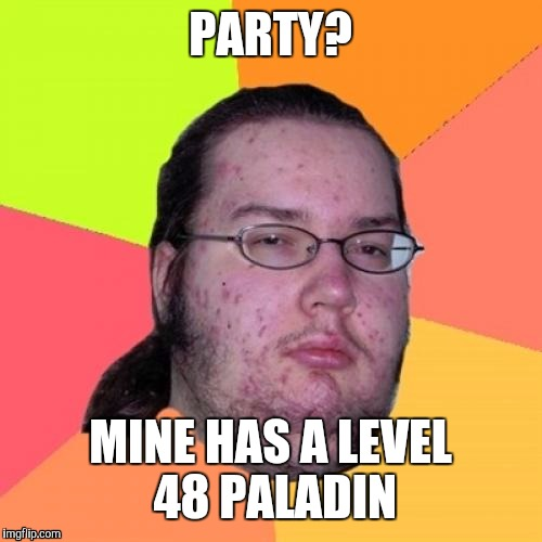 Butthurt Dweller | PARTY? MINE HAS A LEVEL 48 PALADIN | image tagged in memes,butthurt dweller | made w/ Imgflip meme maker