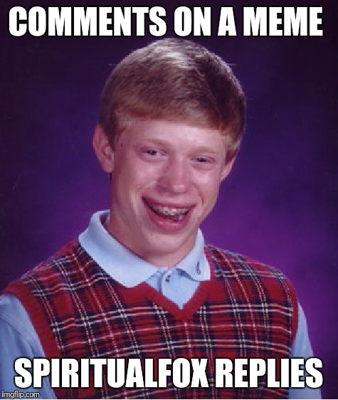 Bad Luck Brian Meme | COMMENTS ON A MEME SPIRITUALFOX REPLIES | image tagged in memes,bad luck brian | made w/ Imgflip meme maker