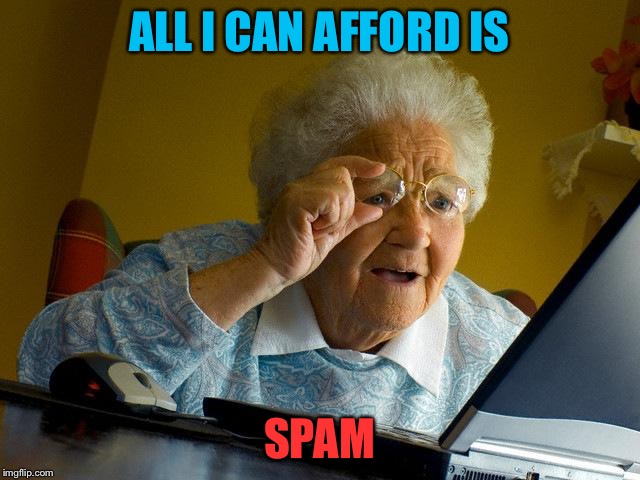 Grandma Finds The Internet Meme | ALL I CAN AFFORD IS SPAM | image tagged in memes,grandma finds the internet | made w/ Imgflip meme maker