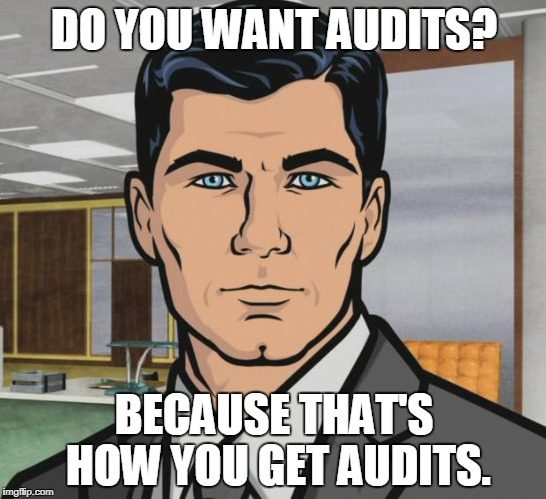 Archer Meme | DO YOU WANT AUDITS? BECAUSE THAT'S HOW YOU GET AUDITS. | image tagged in memes,archer | made w/ Imgflip meme maker