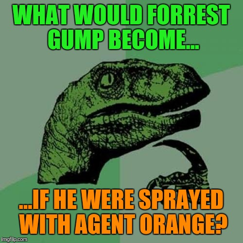 Would the Forrest disappear? | WHAT WOULD FORREST GUMP BECOME... ...IF HE WERE SPRAYED WITH AGENT ORANGE? | image tagged in memes,philosoraptor | made w/ Imgflip meme maker