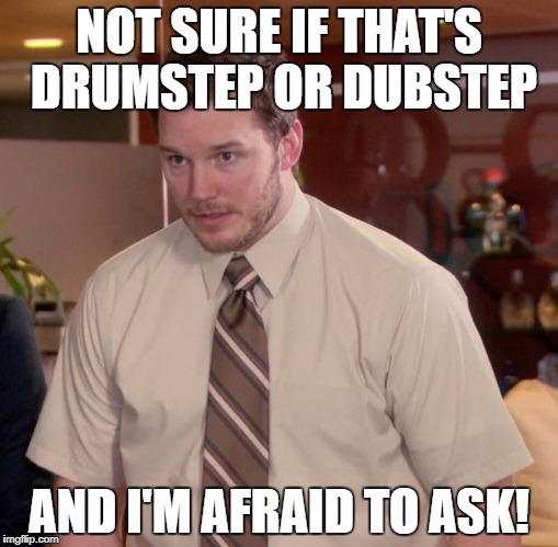 NOT SURE IF THAT'S DRUMSTEP OR DUBSTEP AND I'M AFRAID TO ASK! | made w/ Imgflip meme maker