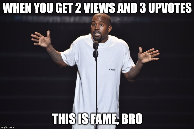 WHEN YOU GET 2 VIEWS AND 3 UPVOTES THIS IS FAME, BRO | image tagged in this is fame bro | made w/ Imgflip meme maker