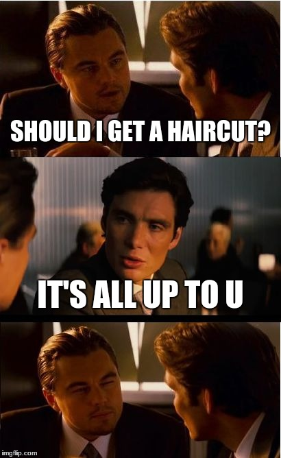 Alphabet Puns | SHOULD I GET A HAIRCUT? IT'S ALL UP TO U | image tagged in memes,inception | made w/ Imgflip meme maker