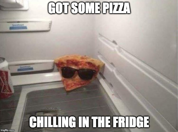 Word. | GOT SOME PIZZA CHILLING IN THE FRIDGE | image tagged in pizza chill,just chillin',pizza | made w/ Imgflip meme maker