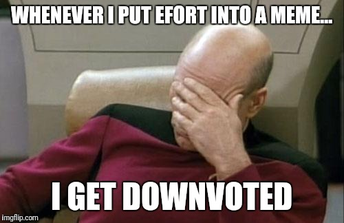 This is why im not active on imgflip | WHENEVER I PUT EFORT INTO A MEME... I GET DOWNVOTED | image tagged in memes,captain picard facepalm | made w/ Imgflip meme maker