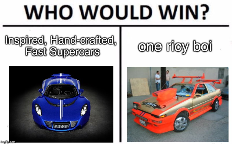 Who Would Win? Meme | Inspired, Hand-crafted, Fast Supercars one ricy boi | image tagged in memes,who would win | made w/ Imgflip meme maker