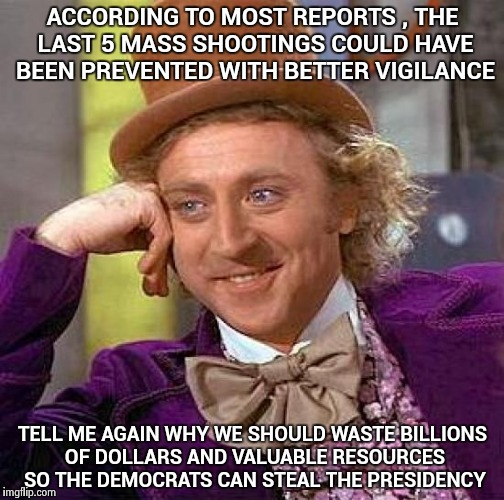 Law Enforcement resources wasted on a ridiculous and fruitless investigation and a rise in Mass Shootings . Coincidence ? | ACCORDING TO MOST REPORTS , THE LAST 5 MASS SHOOTINGS COULD HAVE BEEN PREVENTED WITH BETTER VIGILANCE TELL ME AGAIN WHY WE SHOULD WASTE BILL | image tagged in memes,creepy condescending wonka,all lives matter,libtards,not my problem,russian investigation | made w/ Imgflip meme maker