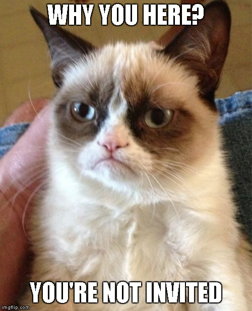 Grumpy Cat Meme | WHY YOU HERE? YOU'RE NOT INVITED | image tagged in memes,grumpy cat | made w/ Imgflip meme maker