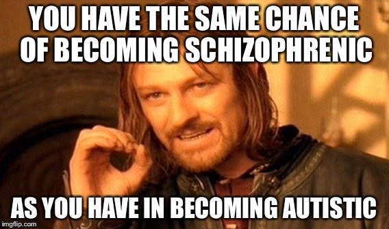 One Does Not Simply Meme | YOU HAVE THE SAME CHANCE OF BECOMING SCHIZOPHRENIC AS YOU HAVE IN BECOMING AUTISTIC | image tagged in memes,one does not simply | made w/ Imgflip meme maker