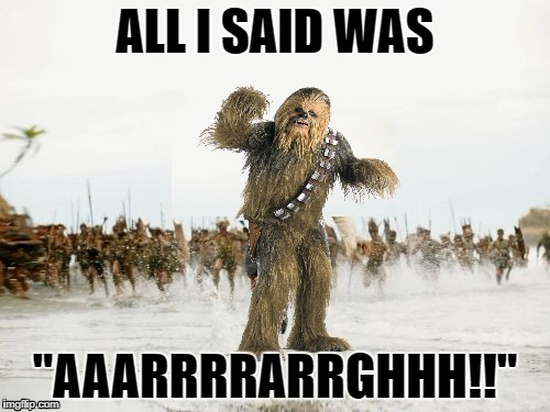 "Chewbacca being chased | ALL I SAID WAS ""AAARRRRARRGHHH!!"" 