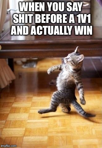 Cool Cat Stroll Meme | WHEN YOU SAY SHIT BEFORE A 1V1 AND ACTUALLY WIN | image tagged in memes,cool cat stroll | made w/ Imgflip meme maker