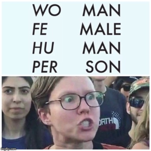 English words are now sexist | A | image tagged in triggered feminist,sexist,english,funny memes,sjw,wtf | made w/ Imgflip meme maker