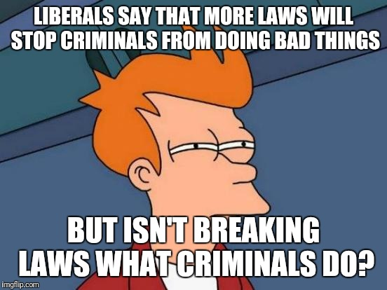 Futurama Fry Meme | LIBERALS SAY THAT MORE LAWS WILL STOP CRIMINALS FROM DOING BAD THINGS BUT ISN'T BREAKING LAWS WHAT CRIMINALS DO? | image tagged in memes,futurama fry,liberal idiots,gun grab | made w/ Imgflip meme maker