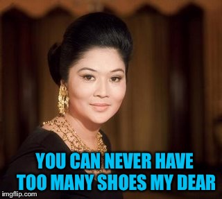 YOU CAN NEVER HAVE TOO MANY SHOES MY DEAR | made w/ Imgflip meme maker