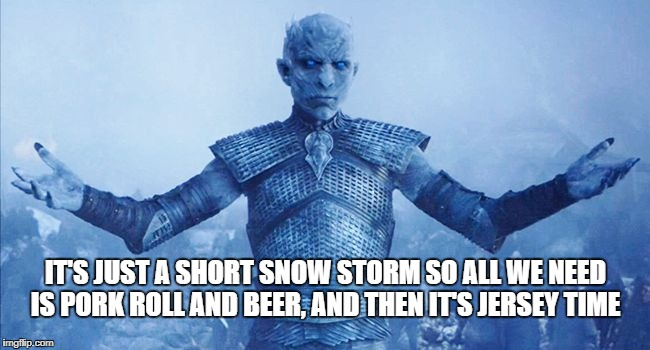 New Jersey snow |  IT'S JUST A SHORT SNOW STORM SO ALL WE NEED IS PORK ROLL AND BEER, AND THEN IT'S JERSEY TIME | image tagged in come at me me jon snow,new jersey memory page,new jersey,u r home realty,lisa payne | made w/ Imgflip meme maker