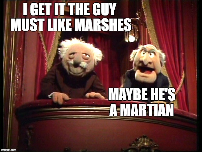 I GET IT THE GUY MUST LIKE MARSHES MAYBE HE'S A MARTIAN | made w/ Imgflip meme maker