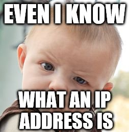 Skeptical Baby Meme | EVEN I KNOW WHAT AN IP ADDRESS IS | image tagged in memes,skeptical baby | made w/ Imgflip meme maker