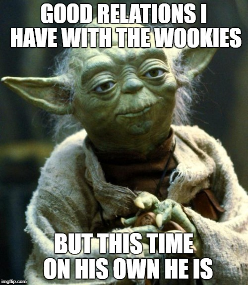 Star Wars Yoda Meme | GOOD RELATIONS I HAVE WITH THE WOOKIES BUT THIS TIME  ON HIS OWN HE IS | image tagged in memes,star wars yoda | made w/ Imgflip meme maker